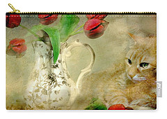 Tabby And Tulips Carry-all Pouch