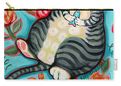 Tabby Cat On A Cushion Carry-all Pouch by Rebecca Korpita