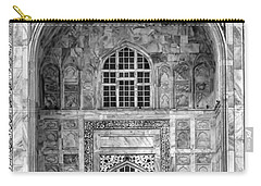 Taj Mahal Close Up In Black And White Carry-all Pouch