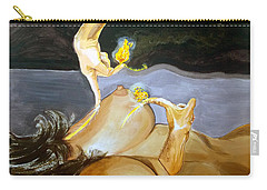 Carry-all Pouch featuring the painting Takeoff The Touch Despegue Del Tacto by Lazaro Hurtado