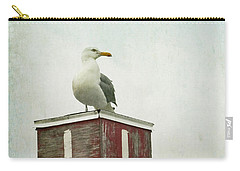 Carry-all Pouch featuring the photograph Gull With Blue And Red by Brooke T Ryan