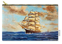 Carry-all Pouch featuring the painting Tall Ship On The South Sea by Lee Piper