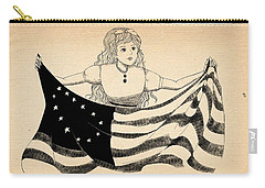 Carry-all Pouch featuring the drawing Tammy And The Flag by Reynold Jay