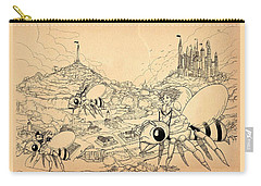 Carry-all Pouch featuring the drawing Flight Over Capira by Reynold Jay