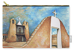 Taos Pueblo New Mexico - Watercolor Art Carry-all Pouch