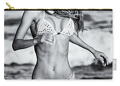 Carry-all Pouch featuring the photograph Ms Turkey Tatyana Running In The Ocean Waves - Glamor Girl Photo Art by Amyn Nasser