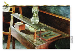 Teacher - Teacher's Desk With Hurricane Lamp Carry-all Pouch by Susan Savad