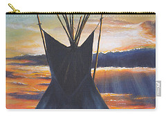 Carry-all Pouch featuring the painting Teepee At Sunset Part 1 by Kim Lockman