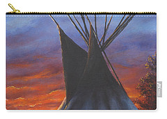 Carry-all Pouch featuring the painting Teepee At Sunset Part 2 by Kim Lockman