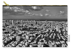 Carry-all Pouch featuring the photograph Tel Aviv Center Black And White by Ron Shoshani