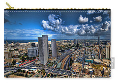 Carry-all Pouch featuring the photograph Tel Aviv Center Skyline by Ron Shoshani