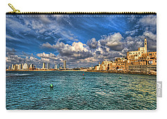 Carry-all Pouch featuring the photograph Tel Aviv Jaffa Shoreline by Ron Shoshani