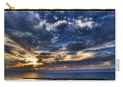 Carry-all Pouch featuring the photograph Tel Aviv Sunset At Hilton Beach by Ron Shoshani