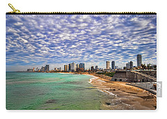 Carry-all Pouch featuring the photograph Tel Aviv Turquoise Sea At Springtime by Ron Shoshani