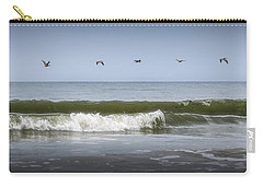 Carry-all Pouch featuring the photograph Ten Pelicans by Steven Sparks