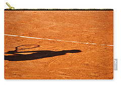 Tennis Player Shadow On A Clay Tennis Court Carry-all Pouch