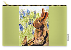 Carry-all Pouch featuring the painting Terra Cotta Bunny Family by Angela Davies