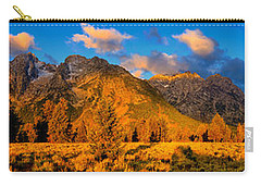 Carry-all Pouch featuring the photograph Teton Mountain View Panorama by Greg Norrell