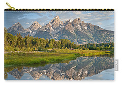 Carry-all Pouch featuring the photograph Teton Range Reflected In The Snake River by Jeff Goulden