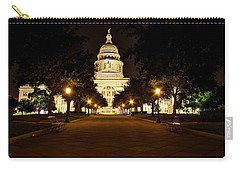 Carry-all Pouch featuring the photograph Texas Capitol At Night by Dave Files