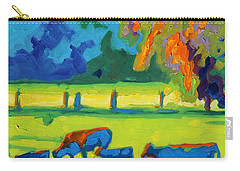 Texas Cows At Sunset Oil Painting Bertram Poole Apr14 Carry-all Pouch by Thomas Bertram POOLE