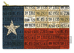 Texas Flag The Lone Star State License Plate Art Carry-all Pouch by Design Turnpike