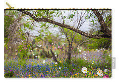 Texas Roadside Wildflowers 732 Carry-all Pouch by Melinda Ledsome