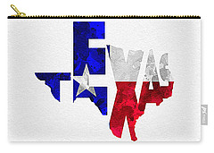 Texas Typographic Map Flag Carry-all Pouch by Ayse Deniz