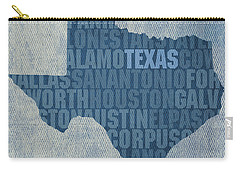 Texas Word Art State Map On Canvas Carry-all Pouch by Design Turnpike