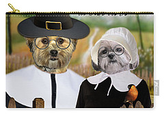 Carry-all Pouch featuring the digital art Thanksgiving From The Dogs by Kathy Tarochione