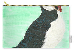 Carry-all Pouch featuring the painting That's Another Puffin Year Over by Tracey Williams