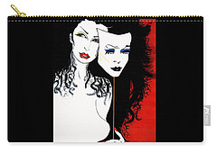 Carry-all Pouch featuring the painting The 2 Face Girl by Nora Shepley