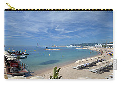 Carry-all Pouch featuring the photograph The Beach At Cannes by Allen Sheffield