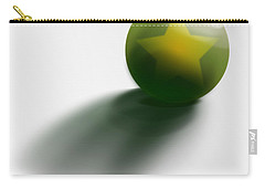 Carry-all Pouch featuring the digital art Green Ball Decorated With Star White Background by R Muirhead Art