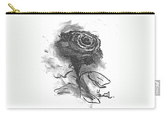 Carry-all Pouch featuring the drawing The Black Rose by Laurie L