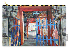 Carry-all Pouch featuring the painting The Blue Gate by Marina Gnetetsky