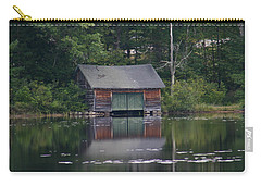 Carry-all Pouch featuring the photograph The Boat House On Mt Chocorua Lake by Denyse Duhaime
