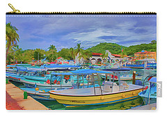 Carry-all Pouch featuring the digital art The Boats Of Hautulco by Deborah Boyd