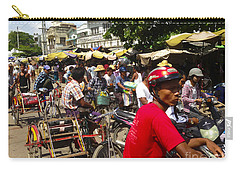 Carry-all Pouch featuring the photograph The Bustling Traffic On 27th Street Zay Cho Street Market Mandalay Burma by Ralph A  Ledergerber-Photography