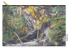 Carry-all Pouch featuring the painting The Crying Log by Lori Brackett