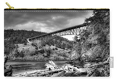 The Deception Pass Bridge II Bw Carry-all Pouch by David Patterson