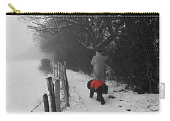 Carry-all Pouch featuring the photograph The Dog In The Red Coat by Vicki Spindler