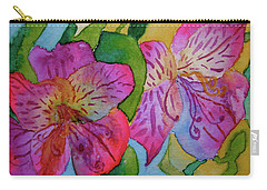 Carry-all Pouch featuring the painting The Electric Kool-aid Alstroemeria Test by Beverley Harper Tinsley