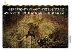 Carry-all Pouch featuring the digital art The Elephant - Inner Strength by Absinthe Art By Michelle LeAnn Scott