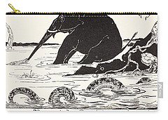 The Elephant's Child Having His Nose Pulled By The Crocodile Carry-all Pouch