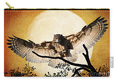 The Eurasian Eagle Owl And The Moon Carry-all Pouch by Kathy Baccari