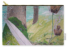 Carry-all Pouch featuring the painting The Feather And The Word La Pluma Y La Palabra by Lazaro Hurtado