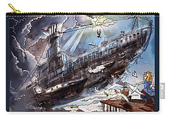Carry-all Pouch featuring the painting The Flying Submarine by Reynold Jay