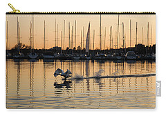 The Golden Takeoff - Swan Sunset And Yachts At A Marina In Toronto Canada Carry-all Pouch by Georgia Mizuleva