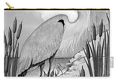 Carry-all Pouch featuring the digital art The Great Blue In Grey by Carol Jacobs